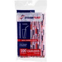 Canudo Flexivel Sachê 6mm Branco/Vermelho Strawplast | Pacote com 100 Unidades - Cod. 7898202613042
