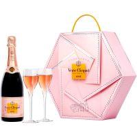 Champagne Veuve Clicquot Rose Couture 750ml Com 2 Taças | Caixa com 2un - Cod. 3049614140990C2