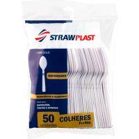 Colher Descartável Forte Refeição Branca Strawplast   Caixa com 10x50un - Cod. 7898202616067C10