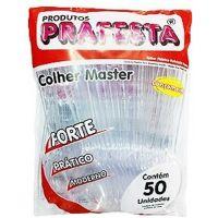 Colher Descartável Sobremesa Cristal Prafesta | Caixa com 20x50un - Cod. 7896343099800C20