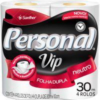 Papel Higiênico Folha Dupla Personal Vip 30m 4 Rolos | Caixa com 16un - Cod. 7896110000176C16