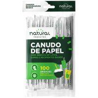 Canudo de Papel Natural Branco 19,8cmx6mm | Pacote com 100 Unidades - Cod. 7898920238800