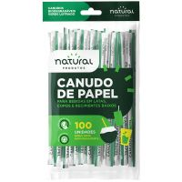 Canudo de Papel Natural Verde Liso 19,8cmx6mm   Pacote com 100 Unidades - Cod. 7898920238794