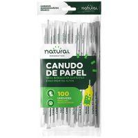 Canudo de Papel Natural Branco 25cmx6mm | Pacote com 100 Unidades - Cod. 7898920238824