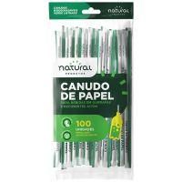 Canudo de Papel Natural Verde Liso 25cmx6mm | Pacote com 100 Unidades - Cod. 7898920238848