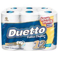 Papel Higiênico Duetto Folha Dupla 30mt | Com 12 Unidades | Caixa com 6 Unidades - Cod. 7896026800709C6
