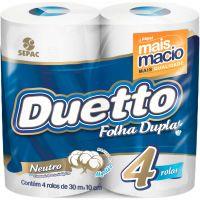 Papel Higiênico Duetto Folha Dupla 30mt | Com 4 Unidades | Caixa com 16 Unidades - Cod. 7896026850148C16