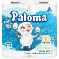 Papel Higiênico Paloma Folha Simples 30mt | Com 4 Unidades | Caixa com 16 Unidades - Cod. 7896026838245C16