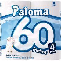 Papel Higiênico Super Paloma Folha Simples 60mt | Com 4 Unidades | Caixa com 16 Unidades - Cod. 7896026800068C16