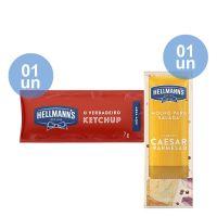 Combo - Compre 1 Unidade da Caixa de Ketchup Hellmann's 7g com 168 Unidades e Ganhe 1 unidade da Caixa de Molho Para Salada Hellmann's Caesar e Parmesão 12ml | Com 108 sachês - Cod. C39324