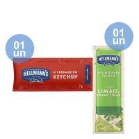 Combo - Compre 1 Unidade da Caixa de Ketchup Hellmann's 7g com 168 Unidades e Ganhe 1 unidade da Caixa Molho Para Salada Hellmann's Limão e Ervas Finas 12ml | Com 108 sachês - Cod. C39325