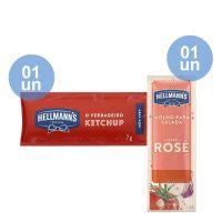 Combo - Compre 1 Unidade da Caixa de Ketchup Hellmann's 7g com 168 Unidades e Ganhe 1 unidade da Caixa de Molho Para Salada Hellmann's Rosé 12ml | Com 108 sachês - Cod. C39327
