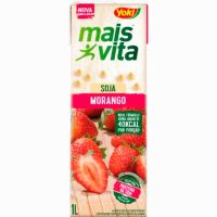 Bebida de Soja Mais Vita Morango Tetra Pak 1L   Caixa com 12 Unidades - Cod. 7891095010752C12