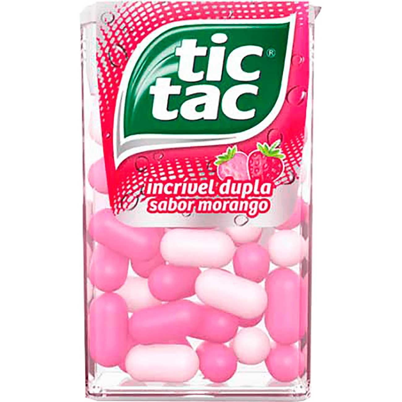 Pastilhas Tic Tac Morango 16g | Caixa com 14 unidades