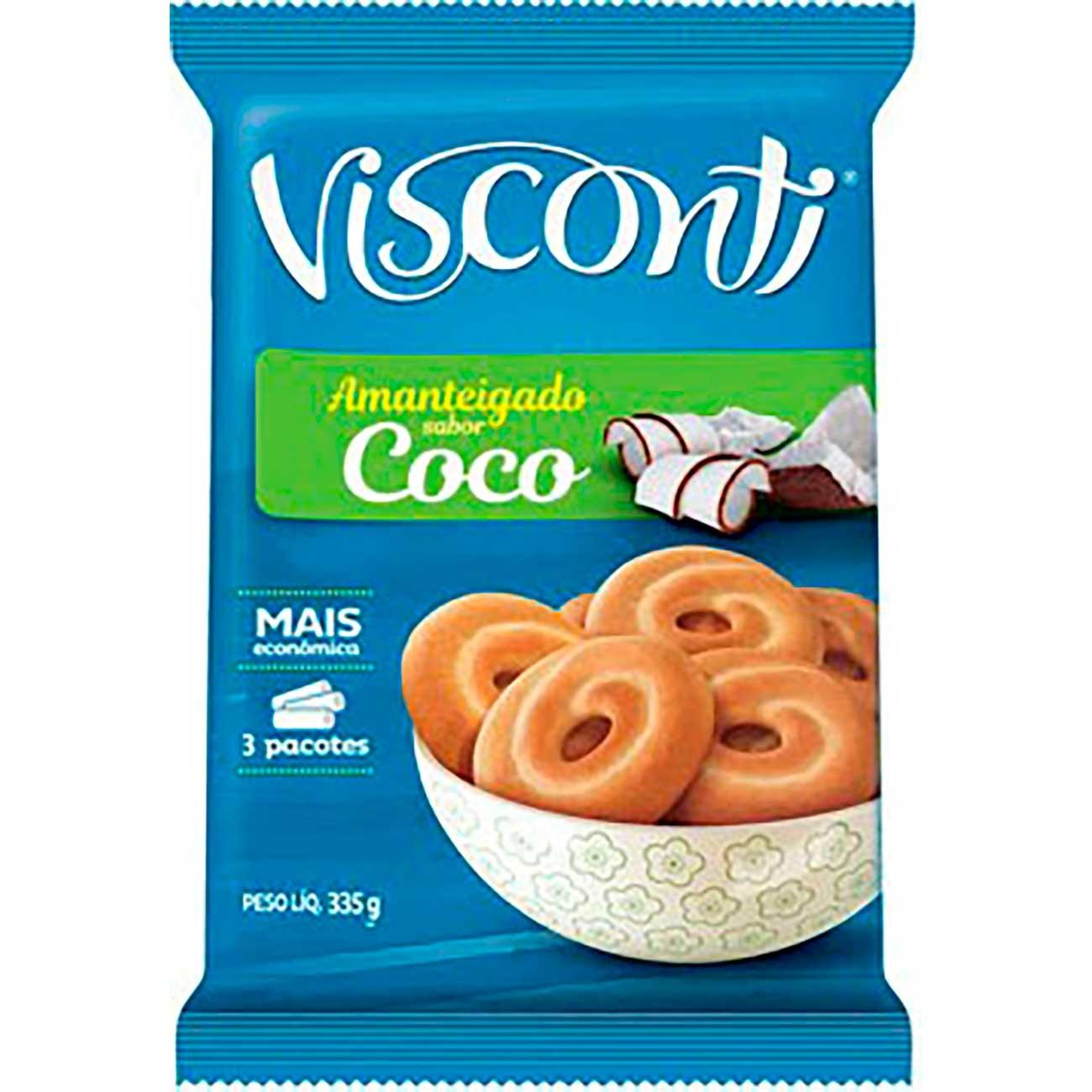 Biscoito Visconti Amantegado Coco 330g| Caixa com 24 unidades