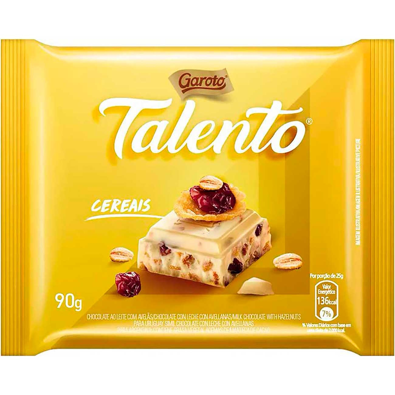Chocolate Talento Branco Cereais E Passas 90g | Caixa com 12 unidades