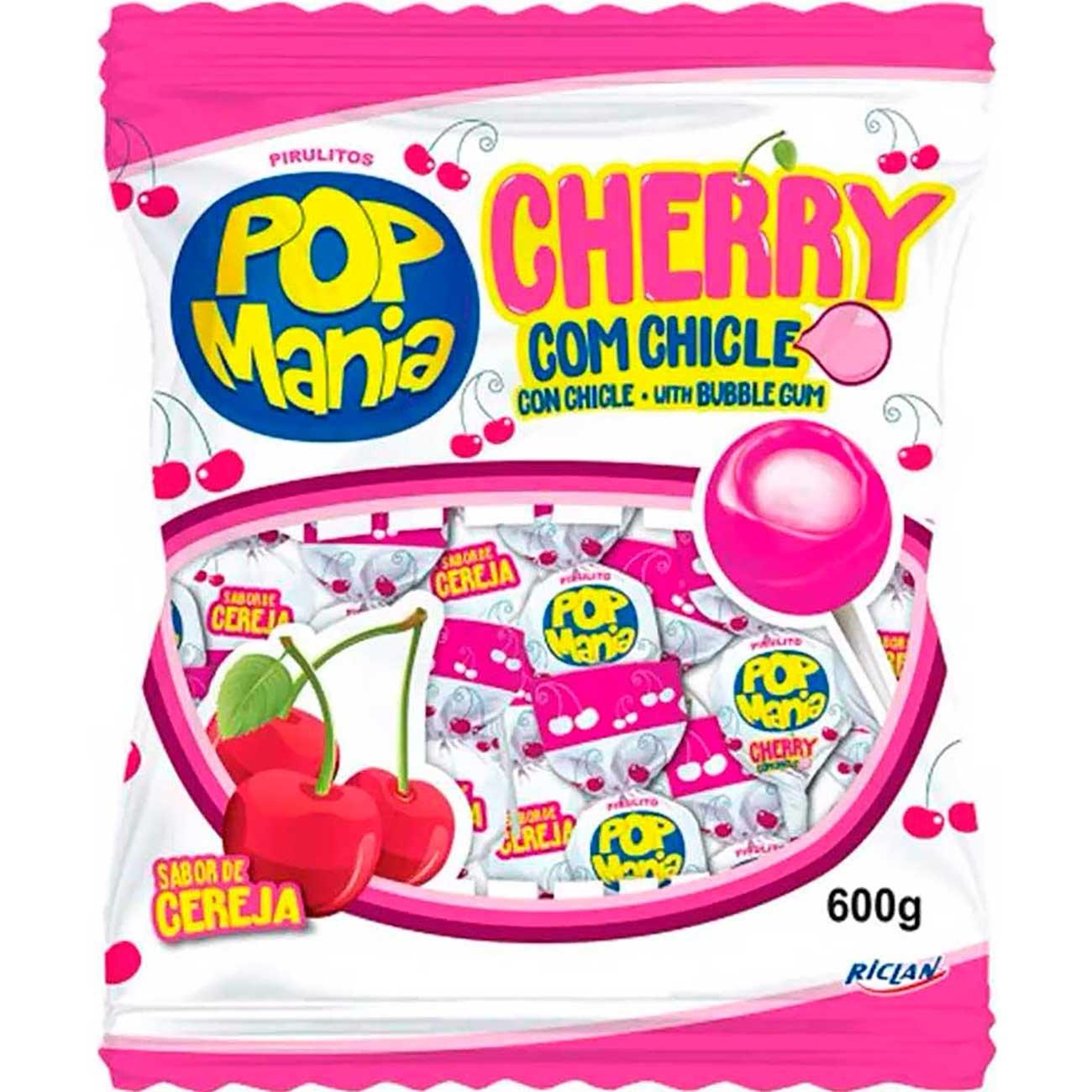 Pirulito Popmania Cherry 600g   Caixa com 50 unidades