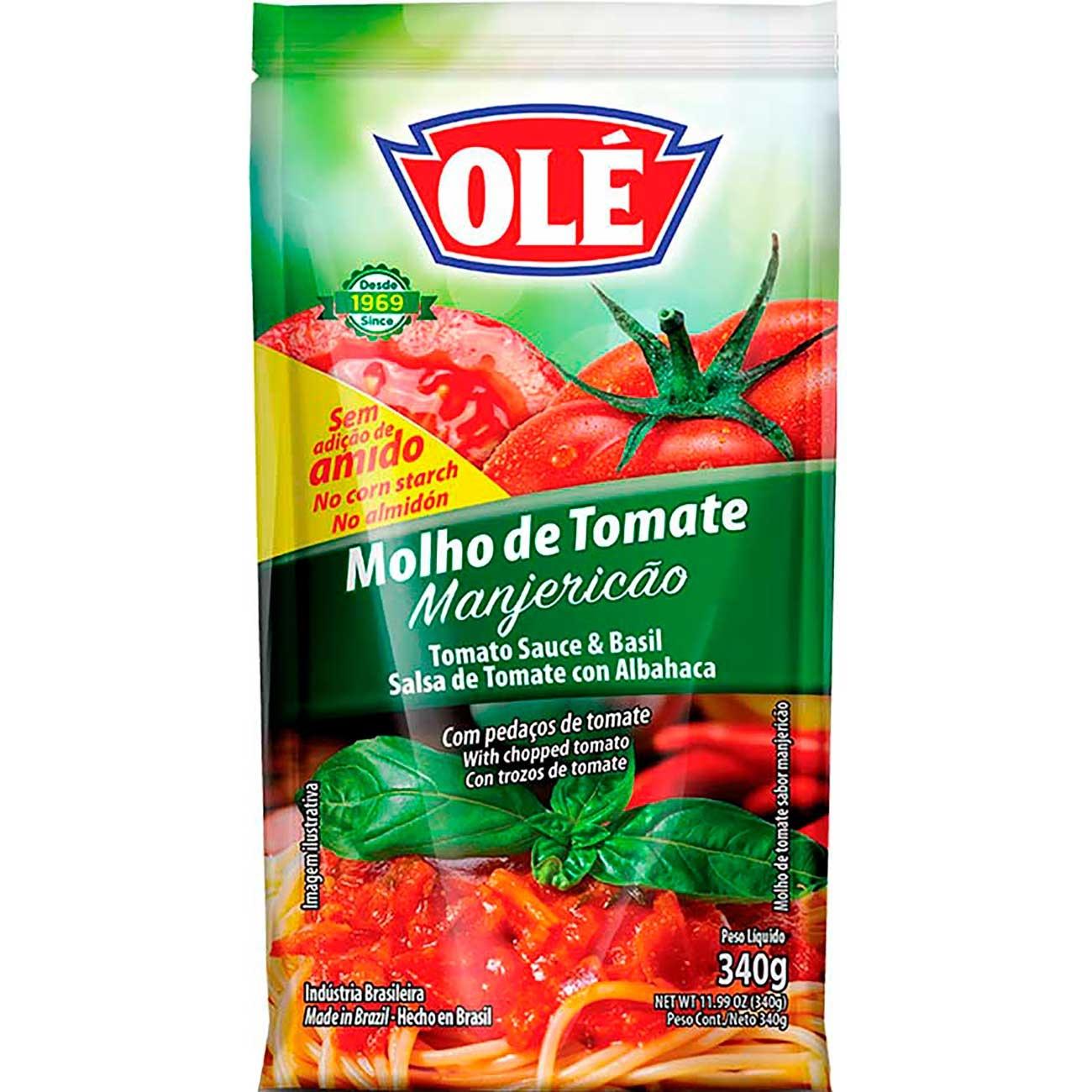 Molho De Tomate Ol�  Manjeric�o Pouch 340g   Caixa com 24 unidades