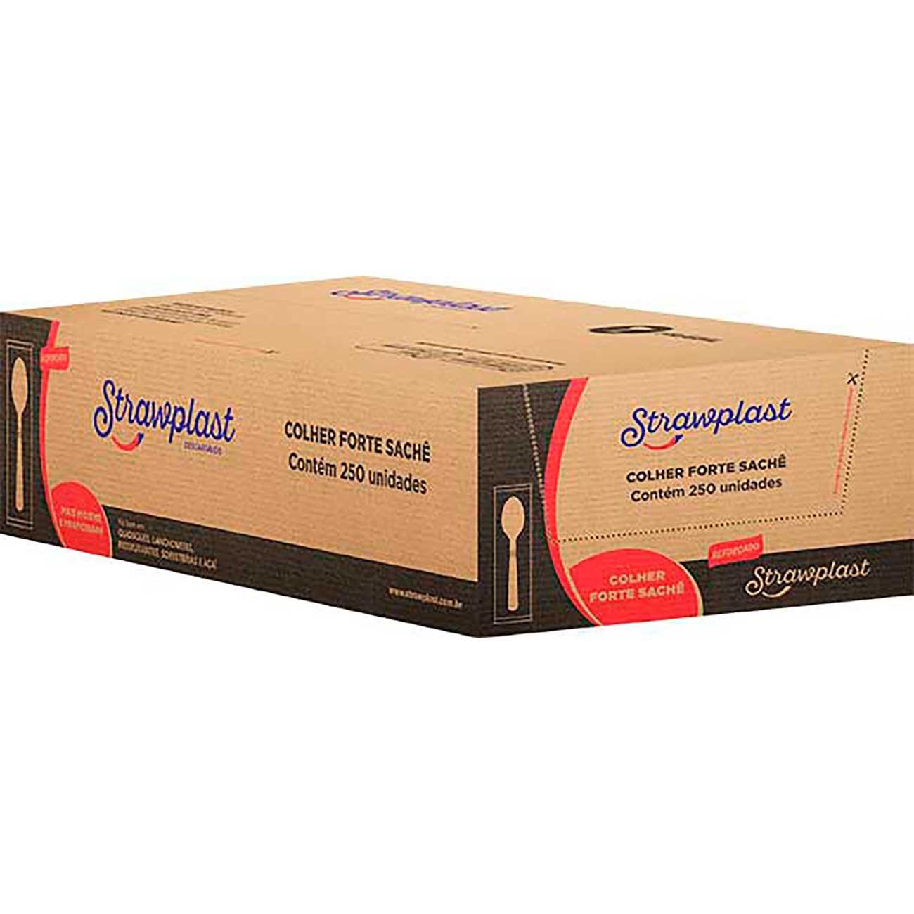 Colher Descart�vel Strawplast para Refei��o Forte Branca   Com 500 Unidades   Ref: Csb-604