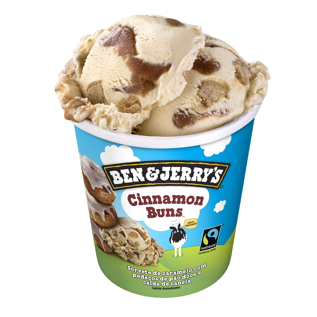 Sorvete Ben&Jerry's Cinnamon Buns 458ML | Caixa com 8
